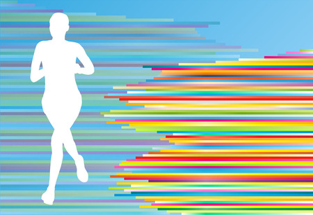 running race: Woman runner silhouette vector background template concept for poster