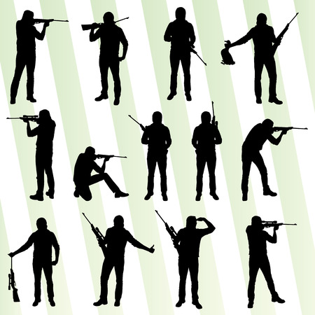 Hunter silhouette set vector background for poster Ilustrace