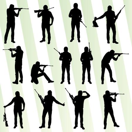 shot gun: Hunter silhouette set vector background for poster Illustration