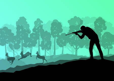 carbine: Hunter silhouette background landscape vector concept with forest and deer in it for poster