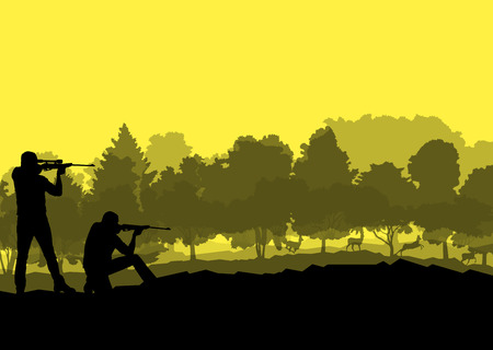 hunter man: Hunter silhouette background landscape vector concept with forest and deer in it for poster