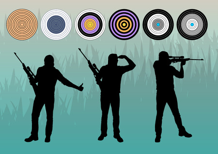 hunter man: Hunter silhouette vector background concept with aims for poster
