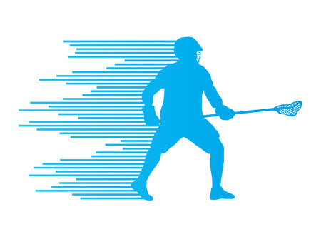 lacrosse: Lacrosse player in action vector background concept made of stripes for poster
