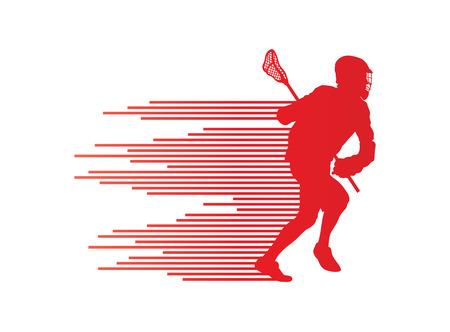 포스터를 줄무늬로 만든 동작 벡터 배경 개념에서 라크로스 선수