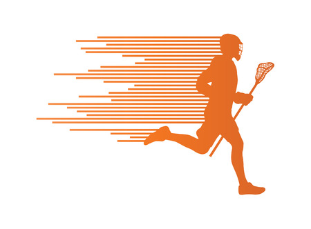 lax: Lacrosse player in action vector background concept made of stripes for poster