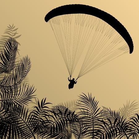 parapente: Parapente activa historial deportivo concepto de paisaje vector para el cartel