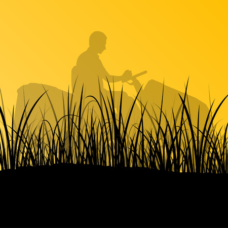 cutting grass: Man with lawn mower tractor cutting grass in field landscape abstract background illustration vector