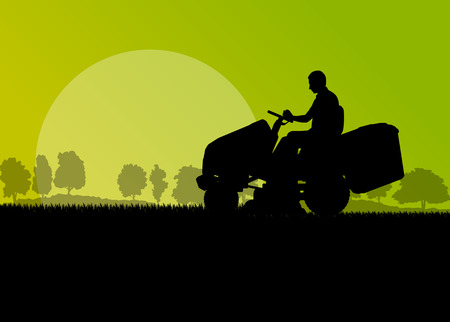 landscape gardener: Man with lawn mower tractor cutting grass in field landscape abstract background illustration vector