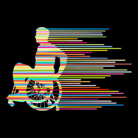 disability insurance: Man in wheelchair disabled people concept made of stripes vector background for poster