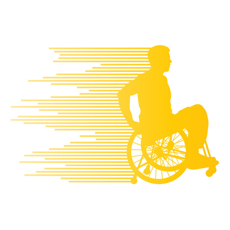 paraplegic: Man in wheelchair disabled people concept made of stripes vector background for poster