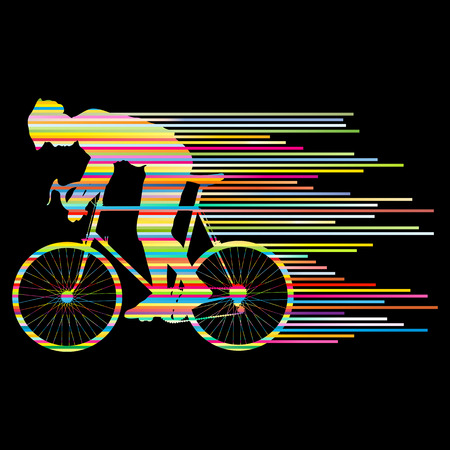Cyclist vector background concept made of stripes for poster Illustration