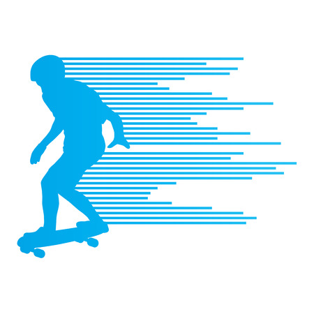 skateboarder: Skateboarder silhouette vector background concept made of stripes for poster Illustration