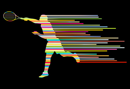 backhand: Tennis player abstract vector background concept made of stripes for poster Illustration