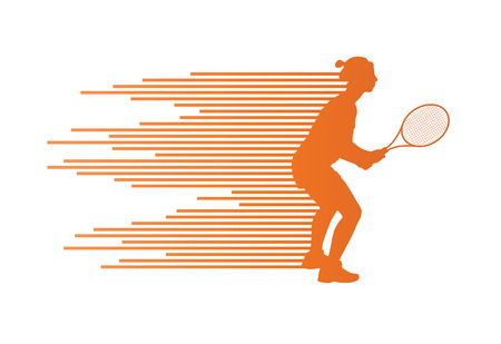 Tennis player abstract vector background concept made of stripes for poster Vector