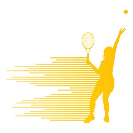 raqueta de tenis: El jugador de tenis del vector abstracto del concepto del fondo hecha de rayas para el cartel