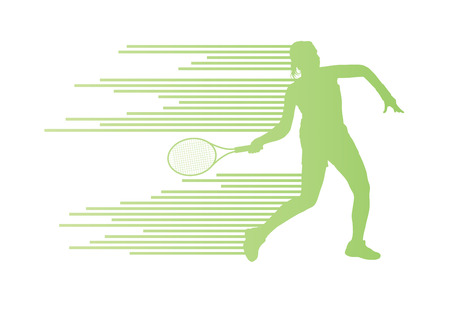 male tennis players: Tennis player abstract vector background concept made of stripes for poster Illustration