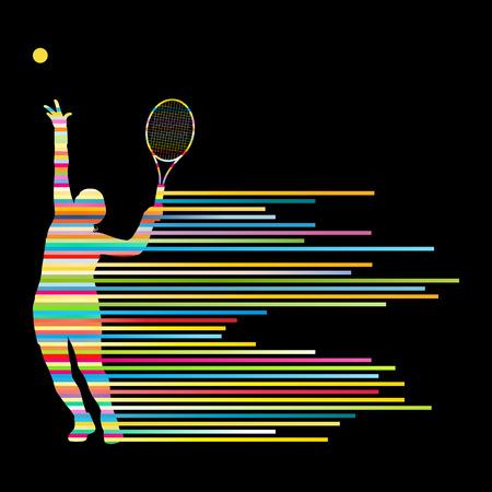 테니스 선수 포스터 줄무늬로 만든 추상적 인 벡터 배경 개념 일러스트