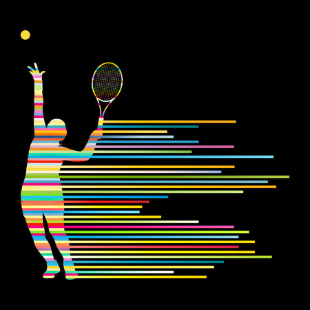 Tennis player abstract vector background concept made of stripes for poster Vectores