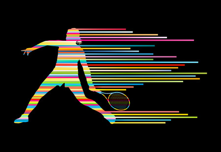 tennis serve: Tennis player abstract vector background concept made of stripes for poster Illustration