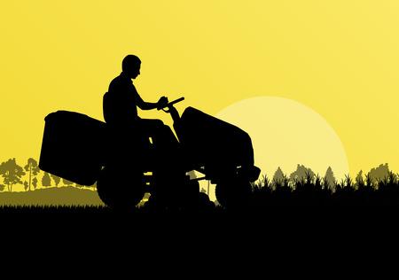 Man met grasmaaier trekker maaien van gras in veld landschap achtergrond illustratie vector Vector Illustratie