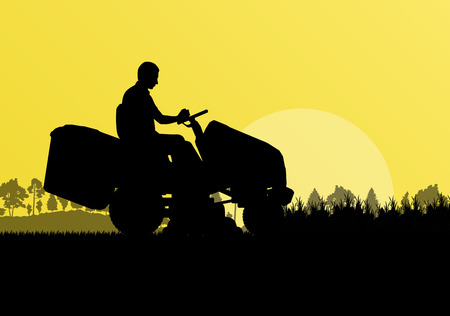 Man with lawn mower tractor cutting grass in field landscape abstract background illustration vector Vector