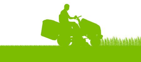 speelveld gras: Man met grasmaaier trekker maaien van gras in veld landschap achtergrond illustratie Stock Illustratie