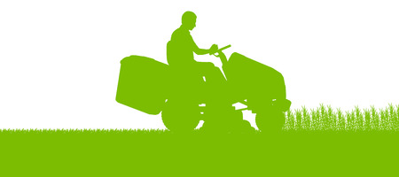 Man with lawn mower tractor cutting grass in field landscape abstract background illustration Vector