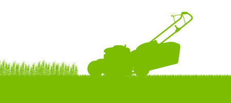 Lawnmower tractor cutting grass in field landscape abstract background illustration Vectores