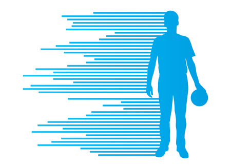 ボーリング選手シルエット ベクトルのストライプの作った背景の概念