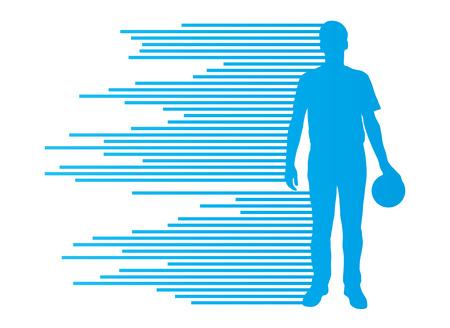 Silhouettes de joueurs de Bowling concept de vecteur de fond faite de rayures Banque d'images - 29348325