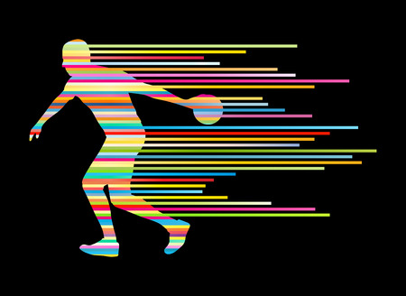 Bowling player silhouettes vector background concept made of stripes Vector