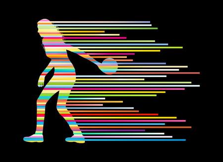 Bowling speler silhouetten vector achtergrond begrip gemaakt van strepen Stock Illustratie