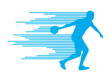 alleys: Bowling player silhouettes vector background concept made of stripes Illustration