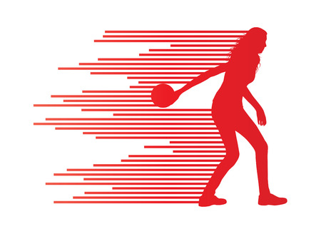 bowling alley: Bowling player silhouettes vector background concept made of stripes Illustration