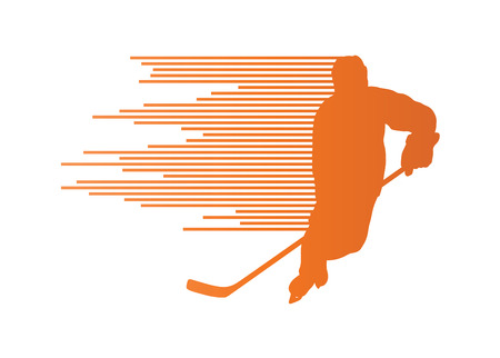 speed skating: Hockey player silhouette vector background concept made of stripes