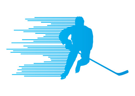 ice hockey player: Hockey player silhouette vector background concept made of stripes