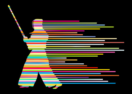 kendo: Active japanese Kendo sword martial arts fighter vector background concept made of stripes