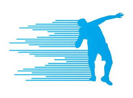 put: Athletic shot put vector background concept for poster Illustration