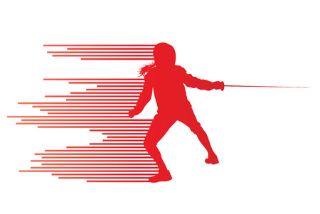 swordsman: Sword fighters active young woman fencing sport silhouettes vector abstract background illustration made of stripes Illustration