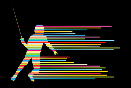 fencing sword: Sword fighters active young man fencing sport silhouettes vector abstract background illustration