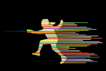Sword fighters active young woman fencing sport silhouettes vector abstract background illustration made of stripes Illustration