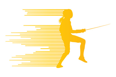 fencing sword: Sword fighters active young woman fencing sport silhouettes vector abstract background illustration made of stripes Illustration