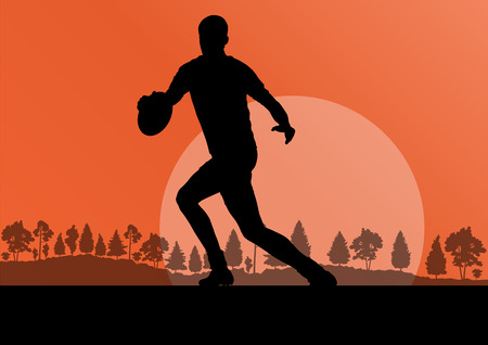 Rugby playing man silhouette in countryside nature background illustration vector for poster Vector
