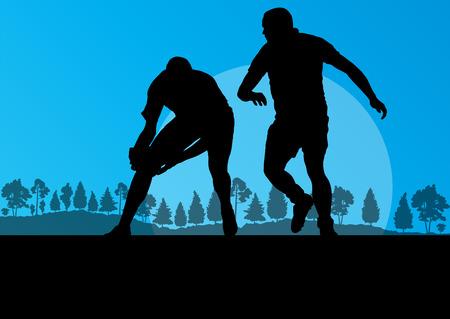 pelota rugby: Rugby hombre tocando la silueta en la campiña de la naturaleza de fondo ilustración vectorial para el cartel Vectores