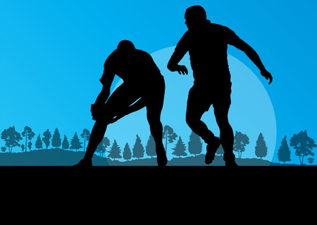rugby player: Rugby playing man silhouette in countryside nature background illustration vector for poster