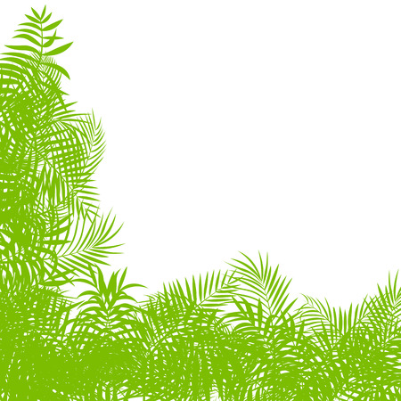 untamed: Exotic forest jungle leaves, grass and herbs vector background for poster