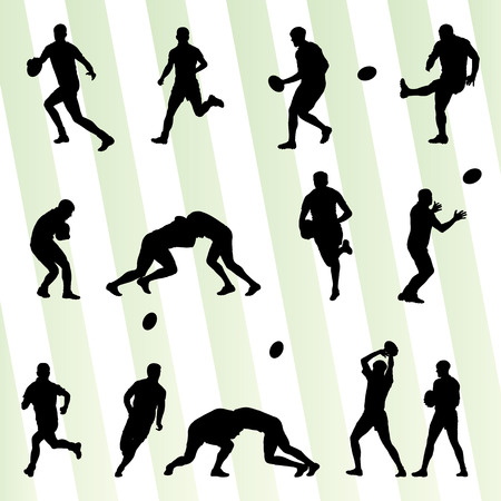 Rugby player man silhouette vector background set for poster Vector