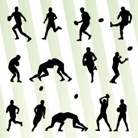 El jugador de rugby hombre silueta del vector Conjunto del fondo para el cartel