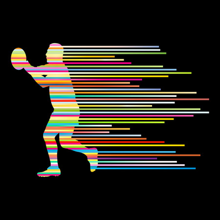 Rugby player man silhouette vector background concept made of stripes for poster Vector