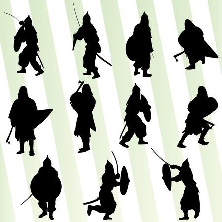Medieval knight, warrior, crusader vector background concept set Stock Illustratie